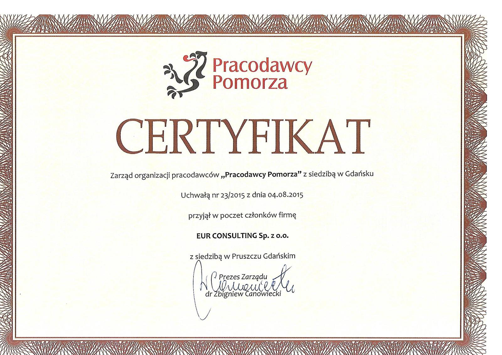 Skan certyfikatu Pracodawcy Pomorza